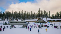 Time Lapse - People in Queue for Lift in Ski Resort Stock Footage