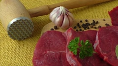 Raw beef meat on a cutting board Stock Footage