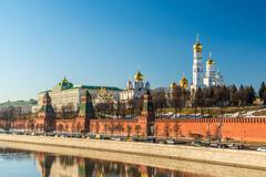 Panorama of  Moscow Kremlin on  sunny day, Russia Stock Photos