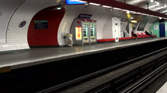 Metro in Paris. The train in the subway. Stock Footage