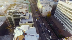 Moscow. Urban Scape With Traffic. Street, road, cars. Aerial view. Autumn, Stock Footage