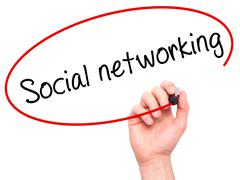 Man Hand writing Social networking with black marker on visual screen - stock photo