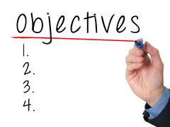 Man Hand writing Objectives to do list with marker Stock Photos