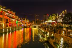 Water Canal Near Nanchang Temple Wuxi Jiangsu China Night - stock photo