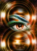 Woman eye and cosmic space, with light circle Stock Illustration