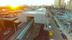 Moscow. Urban Industrial Scape Metro depot Underground. Street, road, cars. Stock Footage