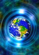 Planet earth in light circle, Cosmic Space background. Computer collage. Earth Stock Illustration
