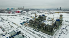 Building Construction on The Beginning. Crane. Moscow Snow Winter.Aerial View Stock Footage