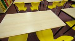 4K Interior view of school classroom. No people.  - stock footage