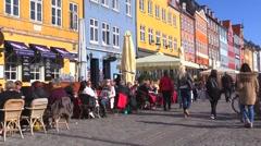 Early, sunny spring in Nyhavn, Copenhagen Stock Footage