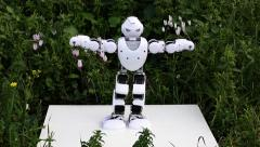 Stock Video Footage of An android humanoid robot introduces himself then dances.