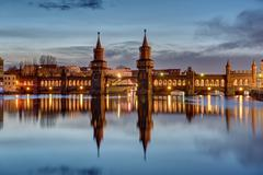 The River Spree and Oberbaumbruecke Stock Photos