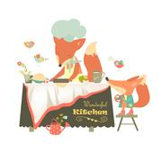 Fox baking a cake - stock illustration