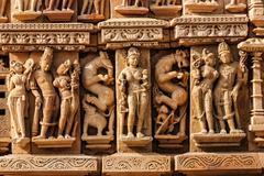 Sculptures on Adinath Jain Temple, Khajuraho Stock Photos