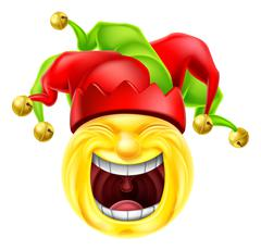 Laughing Jester Emoticon Emoji Stock Illustration