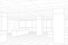 Interior office outlined. Tracing illustration of 3d - stock illustration