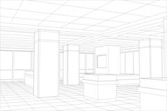Interior office outlined. Tracing illustration of 3d Stock Illustration