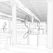 Gas station wire-frame line vector - stock illustration
