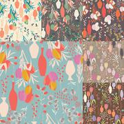 Collection of seven vector seamless patterns with floral elements, spring Stock Illustration