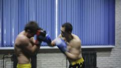 Boxers fight in boxing club Stock Footage
