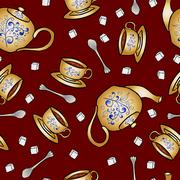 Seamless pattern pottery teapot and cup hand drawing - stock illustration