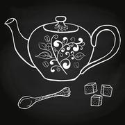 Pottery teapot sugar and spoon hand drawing - stock illustration