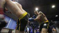 Boxers fight in boxing club - stock footage