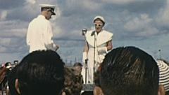 Aruba 1955: Queen Juliana before unveiling her mother's statue Stock Footage