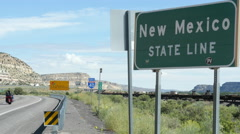 Welcome to New Mexico Sign with Rack Focus Stock Footage