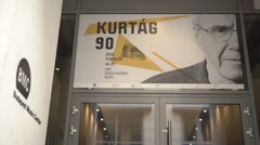 90. birthday sign of legendary composer Kurtág - stock footage