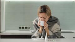 Cold woman drinks a medicine Stock Footage