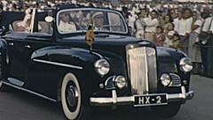 Aruba 1955: queen Juliana in her car - stock footage
