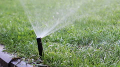 Watering the Lawn - Automatic Irrigation System Stock Footage