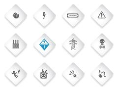 Electricity sign set isolated on white - stock illustration