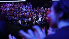 The audience in the TV Studio during the live broadcast. Show business Stock Footage