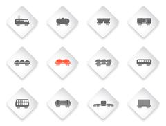 Rail-freight traffic icons - stock illustration