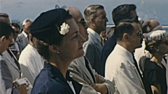 Aruba 1955: people waiting for Queen Juliana in Oranjestad Stock Footage