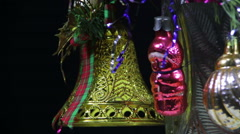 Christmas Tree Decorations and Rotates Stock Footage