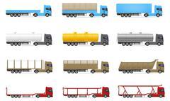 Set icons trucks semi trailer vector illustration Piirros
