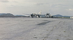 Aruba 1955: queen Juliana's airplane at the airport Stock Footage