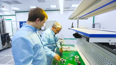 Two Engineers Were Collected and Tested Parts of the Device Tech Laboratory Stock Footage