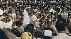 Aruba 1955: Queen Juliana walking in the crowd after a speech - stock footage