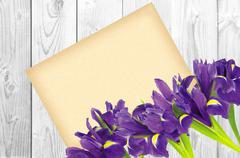 Blueflag or iris flower and greeting card on white wooden background Stock Photos