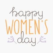 International Womens Day text 8 March for celebration greeting card design - stock illustration