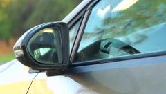 Slowmotion car with rear-view mirror - fog Stock Footage