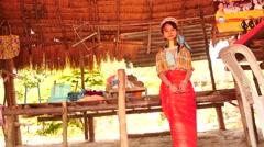 Beautiful female portrait from Karen long neck village in Thailand Stock Footage