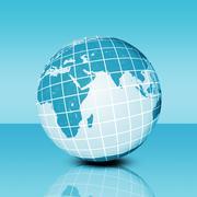 Earth planet on blue - stock illustration
