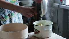 Woman Preparing Mashed Potatoes in the Home Kitchen - stock footage