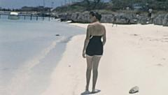 Aruba 1955: young woman on the beach Stock Footage