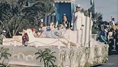 Aruba 1957: floats parade at carnival - stock footage